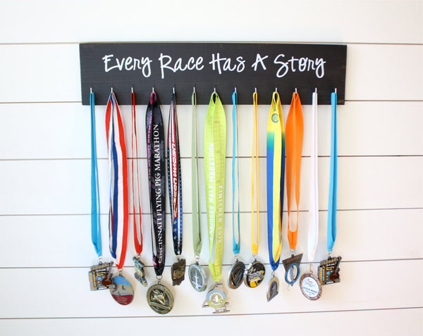 Running Medal Holder - Every Race Has a Story  - Large - York Sign Shop - 2