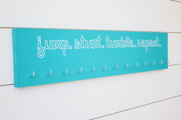 Cheerleading Medal Holder - Jump. Stunt. Tumble. Repeat. - Large - York Sign Shop - 2