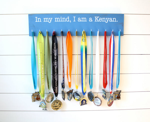 Running Medal Holder - In my mind, I am a Kenyan - Large - York Sign Shop - 2