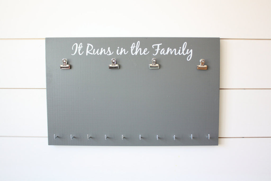 Running Race Bib and Medal Holder - It Runs in the Family - York Sign Shop - 1
