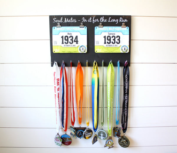 Couple Running Race Bib and Medal Holder - Soul Mates - In it for the Long Run - York Sign Shop - 2