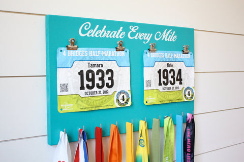 Running Race Bib and Medal Holder - Celebrate Every Mile - York Sign Shop - 1