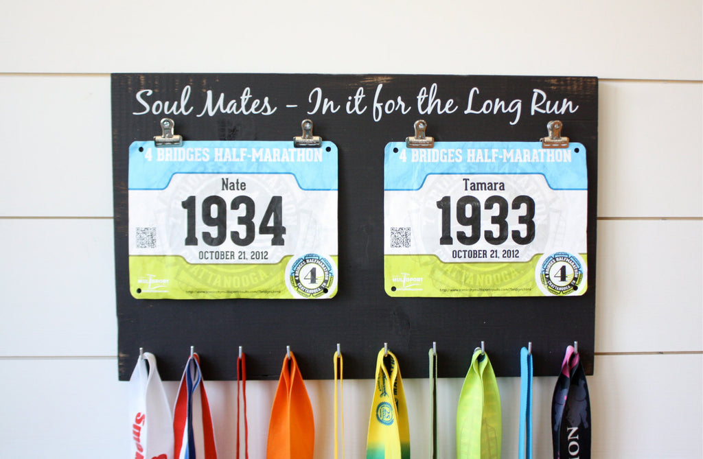 Couple Running Race Bib and Medal Holder - Soul Mates - In it for the Long Run - York Sign Shop - 1