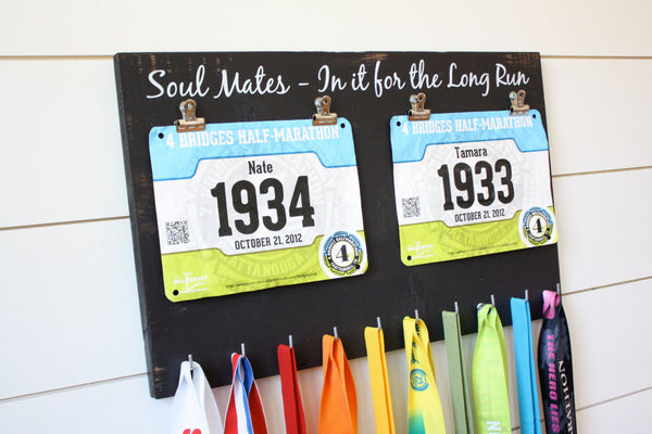 Couple Running Race Bib and Medal Holder - Soul Mates - In it for the Long Run - York Sign Shop - 3
