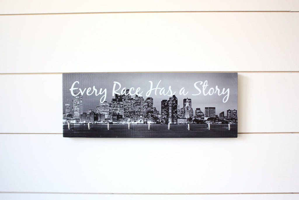 City Medal Holder - Every Race Has a Story - Medium (Black & White) Skyline - York Sign Shop - 1