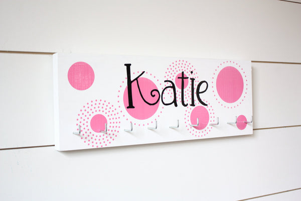 Personalized Medal Holder with Polka Dots - Medium - York Sign Shop - 1
