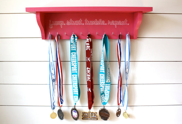 Cheerleading Trophy Shelf and Medal Holder / Display - York Sign Shop - 3
