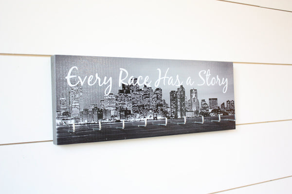 City Medal Holder - Every Race Has a Story - Medium (Black & White) Skyline - York Sign Shop - 2