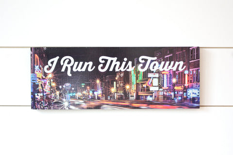 Running Medal Holder - I Run This Town Nashville, TN (Broadway) - Medium (Full Color) - York Sign Shop - 1
