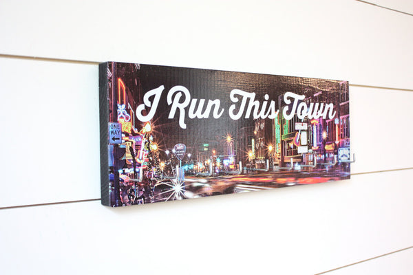 Running Medal Holder - I Run This Town Nashville, TN (Broadway) - Medium (Full Color) - York Sign Shop - 2