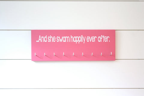 Swim Medal Holder- …And she swam happily ever after. - Medium - York Sign Shop - 1