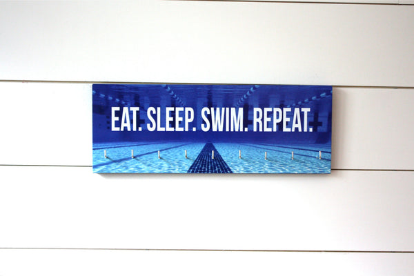 Swimming Medal Holder - Eat. Sleep. Swim. Repeat. - Medium - York Sign Shop - 2