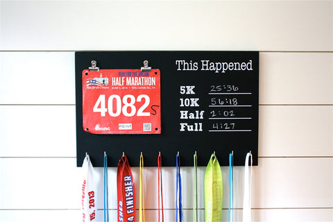 Chalkboard Race Bib and Medal Holder- This Happened - 5K, 10K, Half, & Full - York Sign Shop - 1