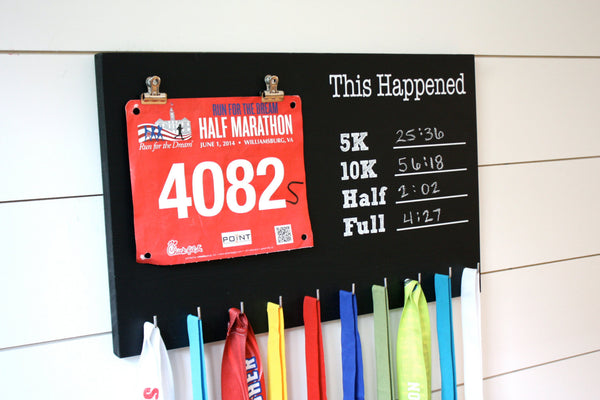 Chalkboard Race Bib and Medal Holder- This Happened - 5K, 10K, Half, & Full - York Sign Shop - 2