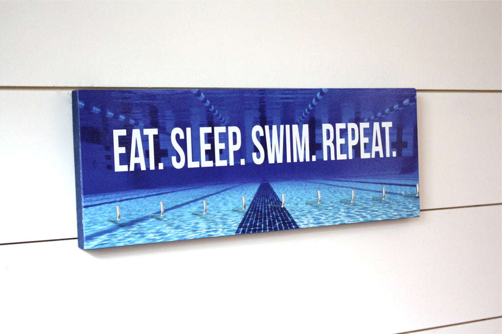 Swimming Medal Holder - Eat. Sleep. Swim. Repeat. - Medium - York Sign Shop - 1