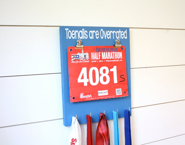 Running Bib and Medal Display - Toenails are Overrated - York Sign Shop - 1
