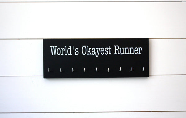Running Medal Holder - World's Okayest Runner - Medium - York Sign Shop - 3