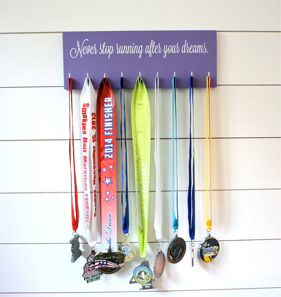 Running Medal Holder - Never stop running after your dreams - Medium - York Sign Shop - 3