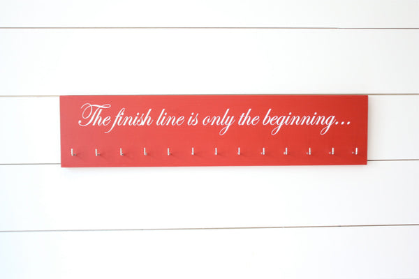 Running Medal Holder -  The finish line is only the beginning...  - Large - York Sign Shop - 2
