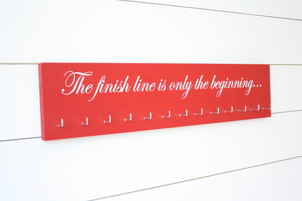 Running Medal Holder -  The finish line is only the beginning...  - Large - York Sign Shop - 1
