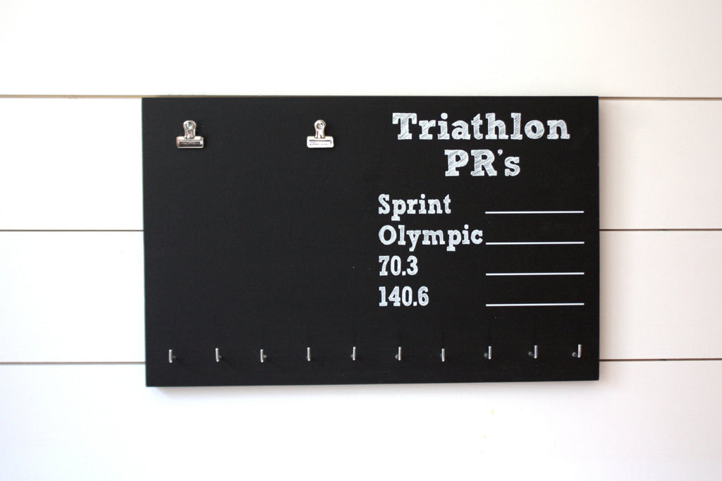 Triathlon Medal Holder - PR Chalkboard - Sprint, Olympic, 70.3, 140.6 - York Sign Shop