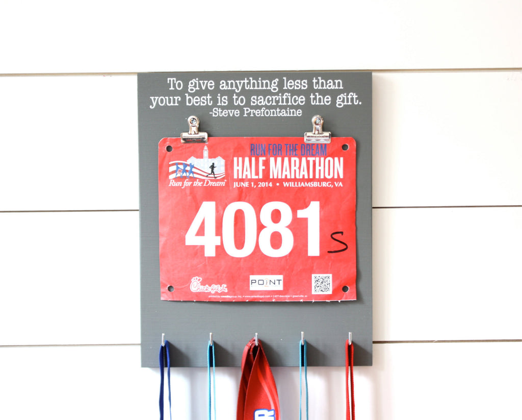 Running Race Bib & Medal Display - To give anything less than your best is to sacrifice the gift. - Steve Prefontaine quote - York Sign Shop - 1