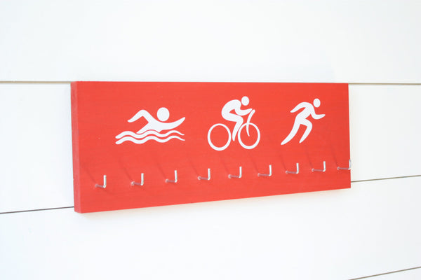 Triathlon Medal Holder / Display - Swim. Bike. Run. Olympicons / Stick Figures - Medium - York Sign Shop - 3