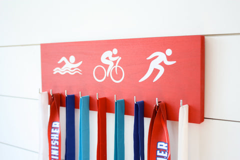 Triathlon Medal Holder / Display - Swim. Bike. Run. Olympicons / Stick Figures - Medium - York Sign Shop - 1