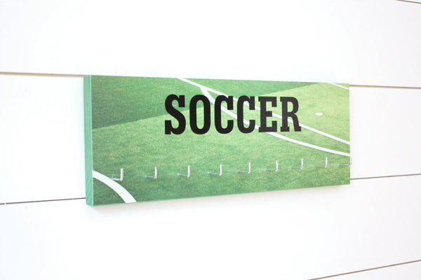 Soccer Medal Holder - Photo background of field / pitch - Medium - York Sign Shop - 1