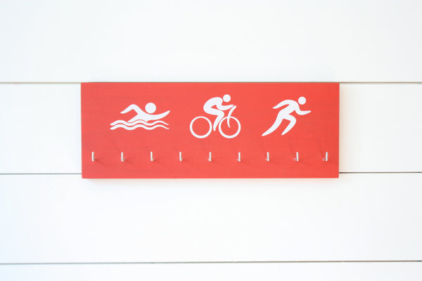 Triathlon Medal Holder / Display - Swim. Bike. Run. Olympicons / Stick Figures - Medium - York Sign Shop - 2