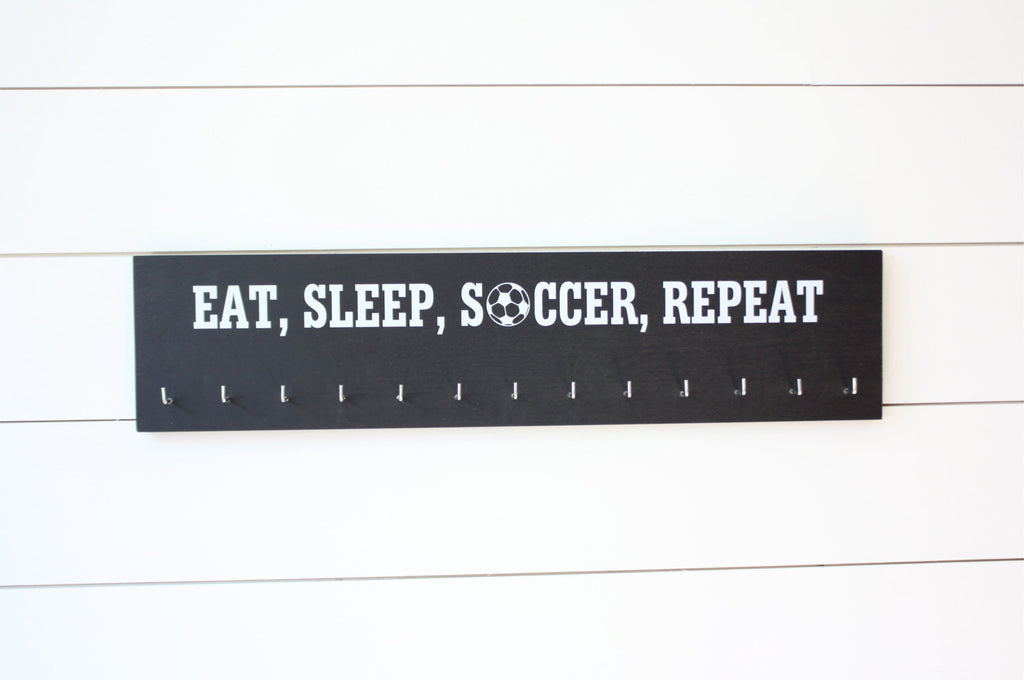 Soccer  Medal Holder - Eat, Sleep, Soccer, Repeat - Large - York Sign Shop - 1