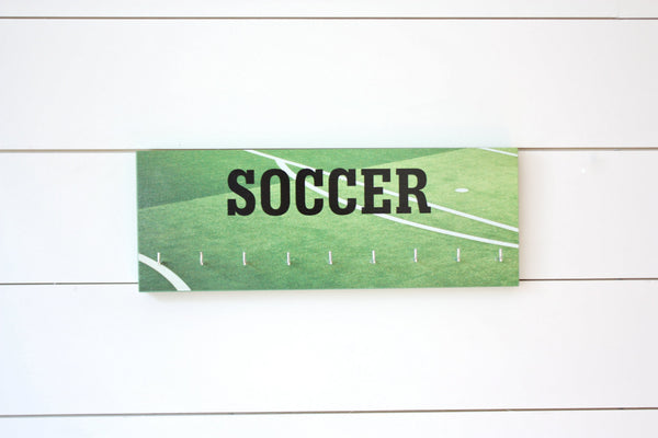 Soccer Medal Holder - Photo background of field / pitch - Medium - York Sign Shop - 2