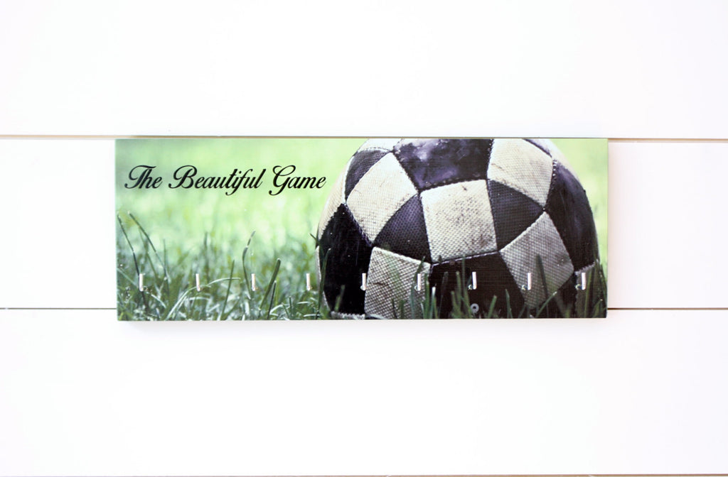 Soccer / Football Medal Holder - The Beautiful Game - Photo background of ball in grass - Medium - York Sign Shop - 1