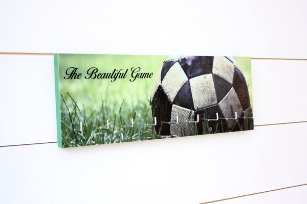 Soccer / Football Medal Holder - The Beautiful Game - Photo background of ball in grass - Medium - York Sign Shop - 2