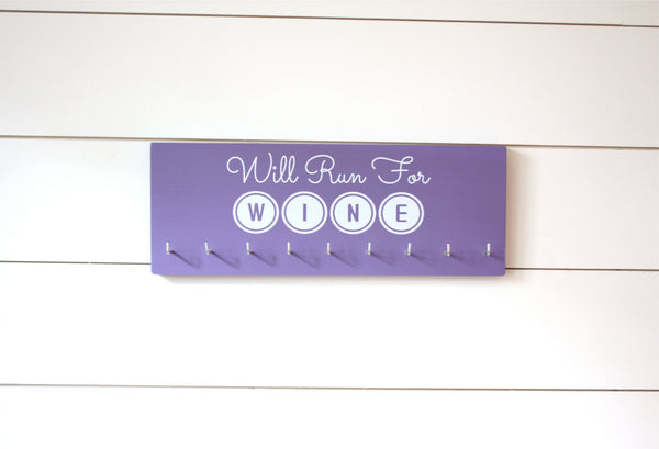 Running Medal Holder - Will Run for Wine - Medium - York Sign Shop - 1