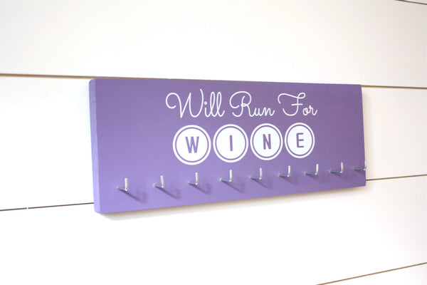 Running Medal Holder - Will Run for Wine - Medium - York Sign Shop - 2