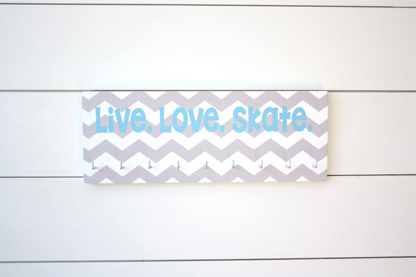 Skating Medal Holder - Live. Love. Skate. - Chevron - Medium - York Sign Shop - 1