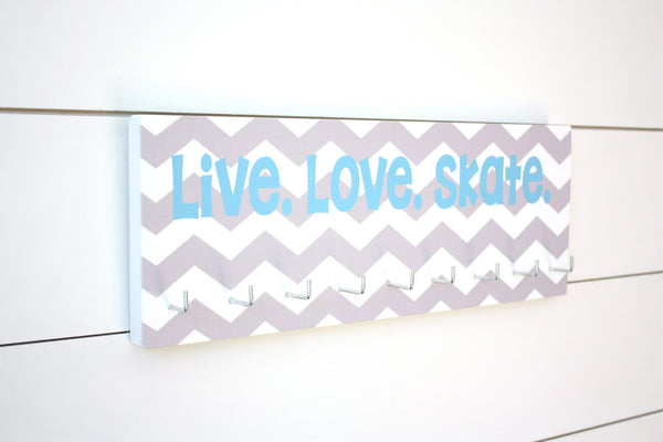 Skating Medal Holder - Live. Love. Skate. - Chevron - Medium - York Sign Shop - 2