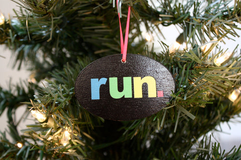 Run. Christmas Ornament  - Colorful and perfect for the holidays!  Makes a great gift for running buddies too! - York Sign Shop - 1