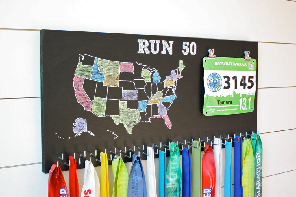 Run 50 States Medal Holder with race bib clips and 50 hooks  *** Chalkboard*** - York Sign Shop - 1