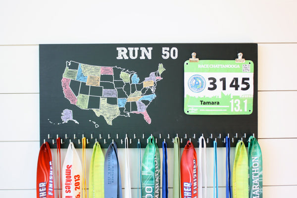 Run 50 States Medal Holder with race bib clips and 50 hooks  *** Chalkboard*** - York Sign Shop - 2