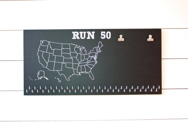 Run 50 States Medal Holder with race bib clips and 50 hooks  *** Chalkboard*** - York Sign Shop - 3