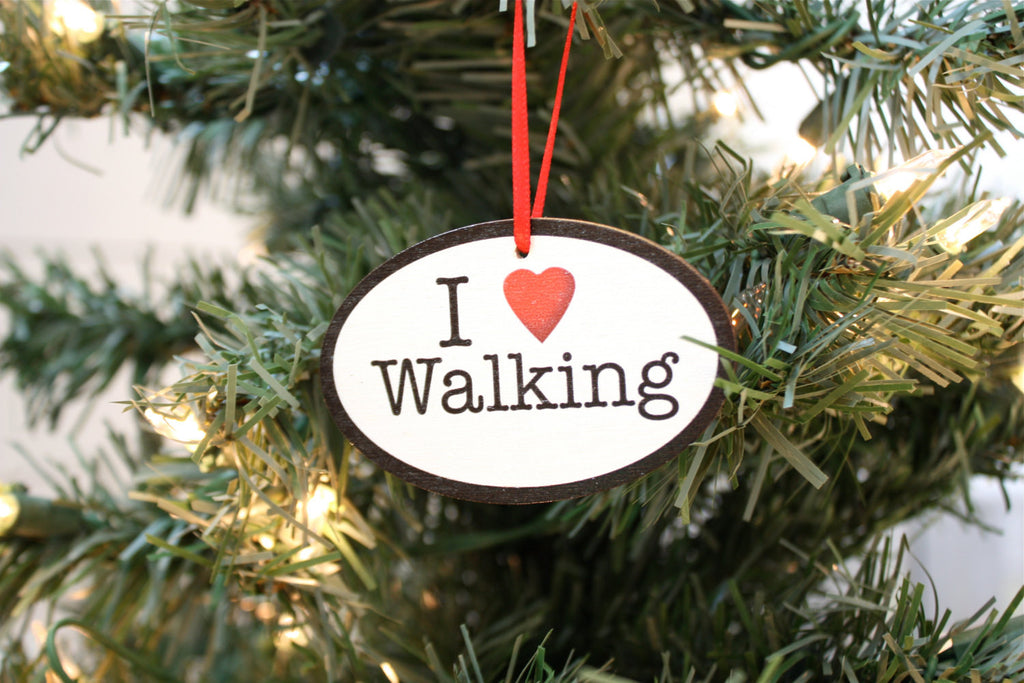 I Love Walking Christmas Ornament - Great gift for walkers! - York Sign Shop - 1