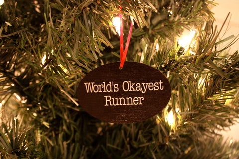 World's Okayest Runner Christmas Ornament - Makes a great gift! - York Sign Shop