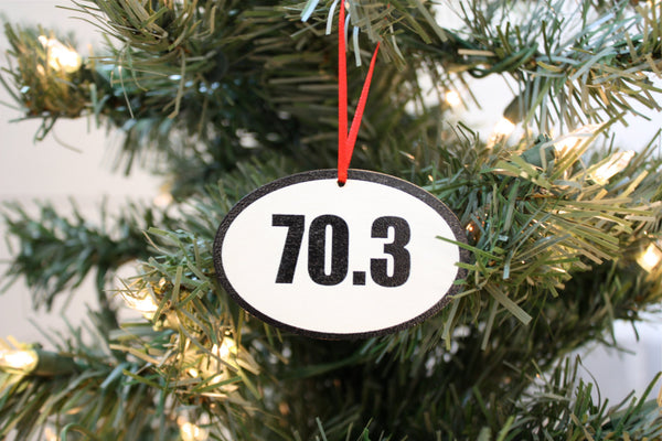 70.3 Triathlon Christmas Ornament - Great gift for half Ironman triathletes! - York Sign Shop - 1