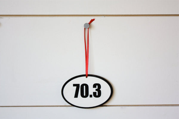 70.3 Triathlon Christmas Ornament - Great gift for half Ironman triathletes! - York Sign Shop - 2