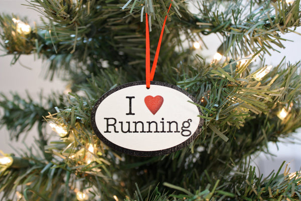 I Love Running Christmas Ornament - Great gift for runners! - York Sign Shop - 1