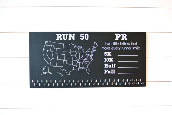 Run 50 States Medal Holder with PR list and 50 hooks  *** Chalkboard*** - York Sign Shop - 3