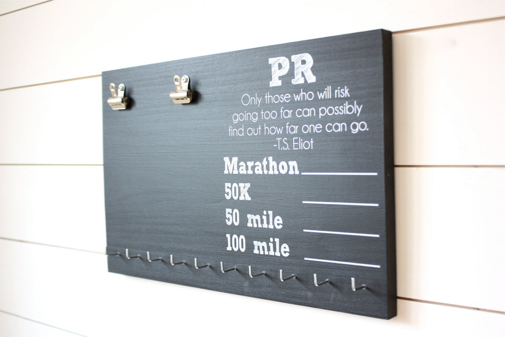 Ultra PR Chalkboard Race Bib and Medal Holder - Marathon, 50K, 50 Mile, 100 Mile - York Sign Shop - 1