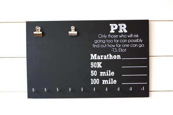 Ultra PR Chalkboard Race Bib and Medal Holder - Marathon, 50K, 50 Mile, 100 Mile - York Sign Shop - 2